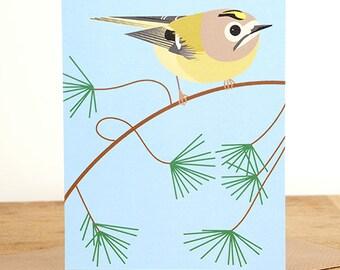 Goldcrest greetings card
