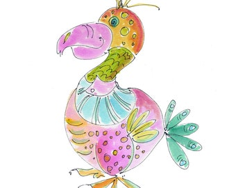 Alice In Wonderland DODO Original Handmade Watercolor - Digital Printout for ClipArt