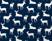 Deer Silhouette Premier Navy/White - 1/2 yard of Premier Prints - Fabric by the Yard - SHIPS IN 24 HOURS