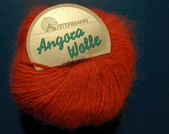 Austermann Angora Wolle 25 g balls, angora and wool blend, warm ornbge