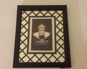 Disney SNOW WHITE Evil Queen 8x10 Mirrored Frame Fan Art Print