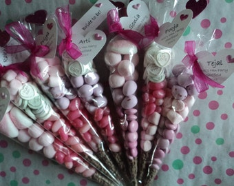 Personalised Wedding, Engagement, Hen Party, Birthday, Themed Parties, Baby Shower, Christening, etc Sweet Cone Favours