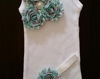Baby girl singlet and headband set.vintage singlet.floral singlet.Embellished singlet. Size 00