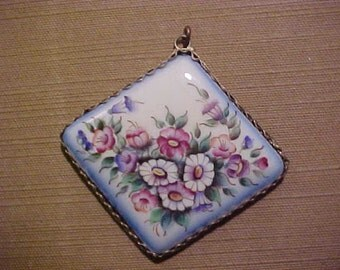 From Russia Hand Painted Pendant on Porcelain