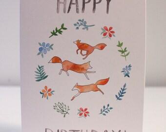 Handmade Fox Birthday Card