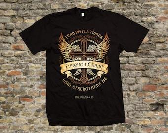 Philippians 4:13 Christian T Shirt 100% cotton - 1964