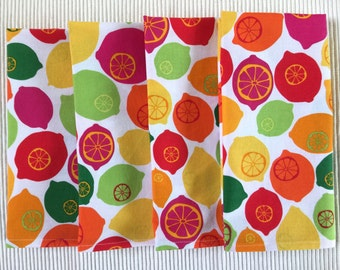 Summer Cloth Napkins, Set of 4, Citrus Multi Color Cotton Print.  Eco Friendly, Easy Care, Everyday Luxury.