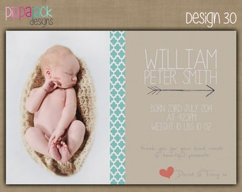 Personalised Baby Boy Birth Announcement / Introduction / Thank you Card