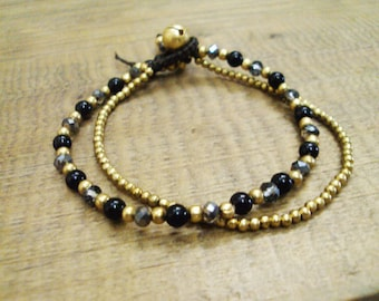4mm Onyx stone bracelets,Crystal bracelets,Beadwork bracelets,Women bracelets