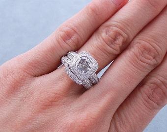 Breathtaking 1.84 ctw Cushion cut diamond ring and wedding band set with a gorgeous 1.11 ct G/SI2 Clarity Enhanced Cushion cut diamond
