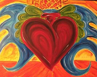 Acrylic Sacred Heart Painting