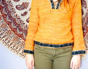 Orange Aztec Hoodie Sweater