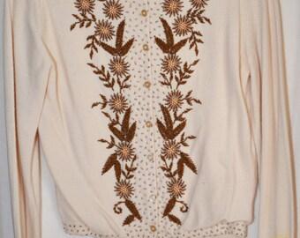 Antique 1950-1960's Vintage Beaded Cashmere Women's Sweater