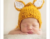 Newborn Photo Prop / Baby Knit Hat, Fox Hat, Newborn baby Hat, Baby Boy, Baby girl, Photography Props
