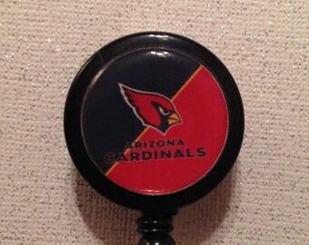 Arizona Cardinals inspired Badge Id Reel Alligator Clip - New