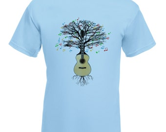 Acoustic Guitar T-shirt Musical Guitar Tree  in sizes Small to XXL