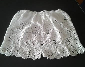 Handmade crocheted saucy shorts  /  cotton 100%  /  size M / made to order