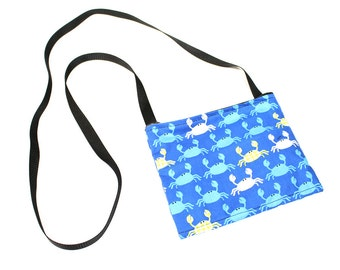 Blue Crab fabric mini crossbody bag, perfect for travel or a night out!