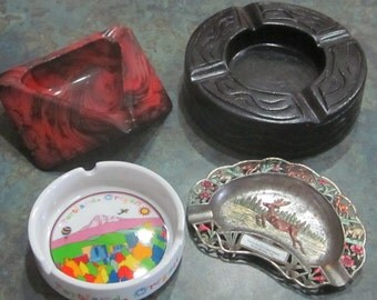 4 Vintage Ashtrays