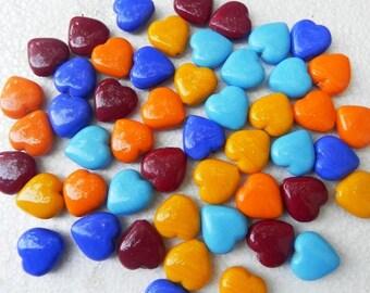 supplies,Beads -  40 Pcs.Best quality beautiful handmade heart shape LAMPWORK GLASS BEADS