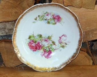 Rose Bouquet Vegetable Bowl Porcelain Austria Czechoslovakia Hand Painted Antique Edwardian 1900 For Your Vintage Kitchen