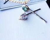 Eurynome - Green Apatite and Fire Quartz Crystal Bobby Pins