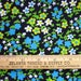 Vintage 1970s Cotton Quilting Fabric - Blue, Lime, and White Floral on Black