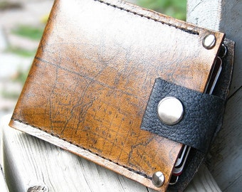 Men's Leather Wallet - Slim Jim Bifold Money Clip --- Old World Map - MADE to ORDER