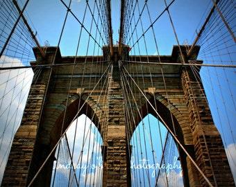 New York City Photography: Brooklyn Bridge Print- New York City Print, Brooklyn Bridge Photography, Bridge Print, New York City Art, Bridges