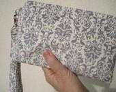 WEDDING CLUTCH bridesmaid clutch gift pouch 2 pockets handmade gifts for her flower girls - Damask grey