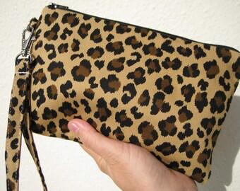 Wedding Clutch, 2 pockets gift pouch,medium,brown,leopard,cotton, - Leopard