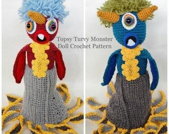 Monster Crochet Pattern, Topsy Turvy Doll, Kids Toys Tutorial, Handmade Instructions, Imaginary Pretend Play
