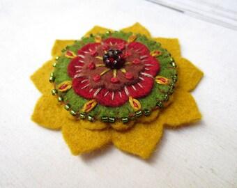 Star Flower Felt  Brooch, Wool Felt Brooch with Vintage Glass Flower, Felt Pattern Brooch by Skippingstones