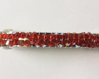 Swarovski Crystal Red Siam Barrette, Hair Jewelry