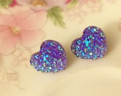 Faux Druzy Heart Earrings, Sparkly Earrings, Lavender Heart Earrings, Purple Heart Earrings, Stainless Steel, KreatedByKelly