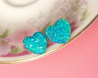 Faux Druzy Heart Earrings, Sparkly Earrings, Aqua Heart Earrings, Valentine's Earrings, Rock Star Jewelry, Stainless Steel