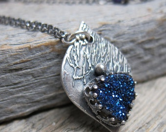 Hera and the Peacock necklace ... antiqued recycled fine silver / peacock feather / blue titanium druzy