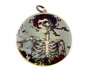 Photo Locket, Image Locket, Art Locket, Picture Locket, Brass Locket - GRATEFUL DEAD - Skeletons & Roses