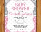 Winter Snowflake Invitation Polka Dot Baby Shower Invite Baby Girl Pink Grey 5x7 Digital JPG (391)