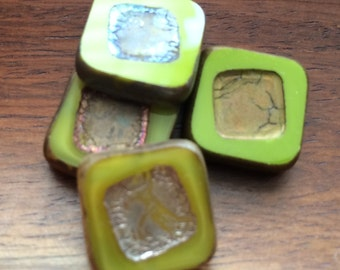Czech glass beads green and yellow picasso squares 5x14mm pack of 4 (SQ07)