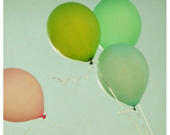 Balloon Photograph - Summer Photography-Fine Art Photography - Merriment -Green Art -Pink Print - Balloon Print-Children's Decor -Kids Print