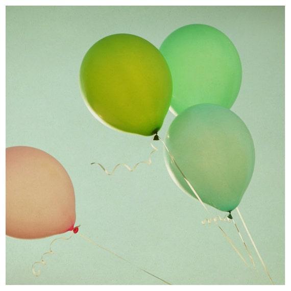 Balloon Photograph - Summer Photography - Fine Art Photography - Merriment -  Original Art - Color - Green - Pink - Fun