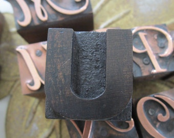 Antique Letterpress Wood Type Printers Block Letter U