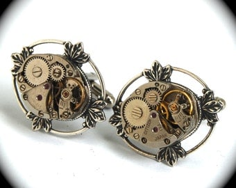 Filigree Framed Steampunk Vintage Watch Cufflinks with Ruby Jewels Antiqued Silver Leaf Leaves by Nouveau Motley