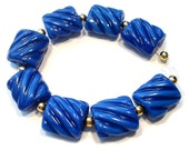 Blue Two Tone Groovy Nuggets Handmade Glass Lampwork Beads