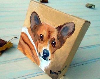 Tiny Custom Dog Portrait Painting, Custom Pet Portrait Oil Painting, Pembroke Corgi or any breed