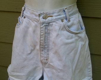 Vintage light bleached wash cuffed high waisted Shorts size 10