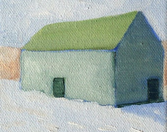 House with green roof - art print of original oil painting