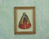 Dollhouse Miniature Framed Lady Venetian Cat Print