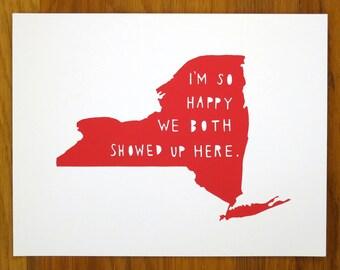 NEW YORK | I'm So Happy, anniversary gift for boyfriend, anniversary gift for men, engagement gift,  state typography art, map art, NYC,